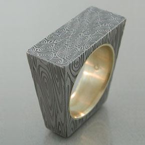 Damascus and Gold Ring