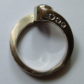Helix Ring With Diamond Set Sides