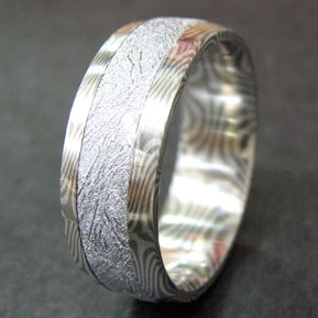 Meteorite Ring with Star Pattern Mokume Gane Side Rails and Lining