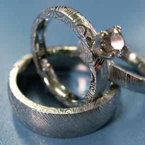 Naked Damascus Wedding Set with Prong Set Diamond
