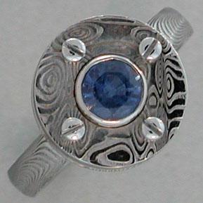 Stainless Steel Damascus Ring with changeable stones