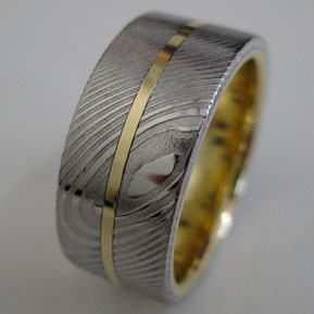 Extra Wide Damascus Ring with Inlay