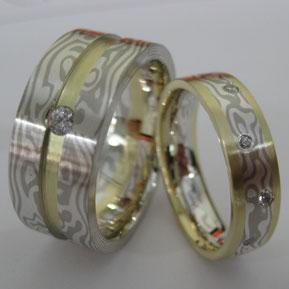 Custom Mokume Gane Ring Pair with Diamonds