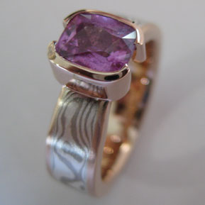Mokume Gane Ring with Pink Sapphire