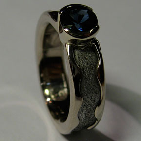 Meteorite Rolled Edge Ring with Partial Bezel