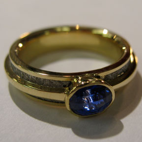 Meteorite ring with Gold Overlay and Oval Sapphire