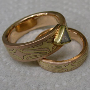 Mokume Gane Ring Set with Natural (Uncut) Diamond Macle