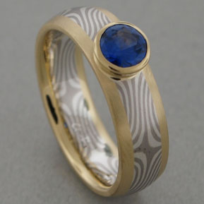 Star Pattern Mokume Gane Inside-Out Setting with Sapphire