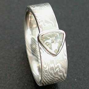 Mokume Gane Ring, Tapered Tail with Natural Diamond (uncut) Macle