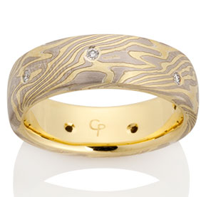 Oak Mokume in 18k Yellow Gold, 14k Pd White Gold and Silver with Diamonds